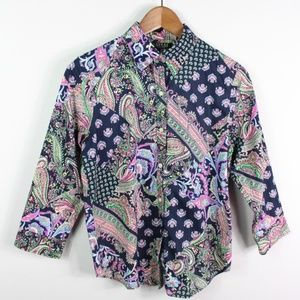 Lauren Ralph Lauren Button Shirt Paisley Non Iron